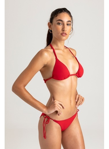 Vulevu Üçgen Örgü Sırt Bikini Kırmızı